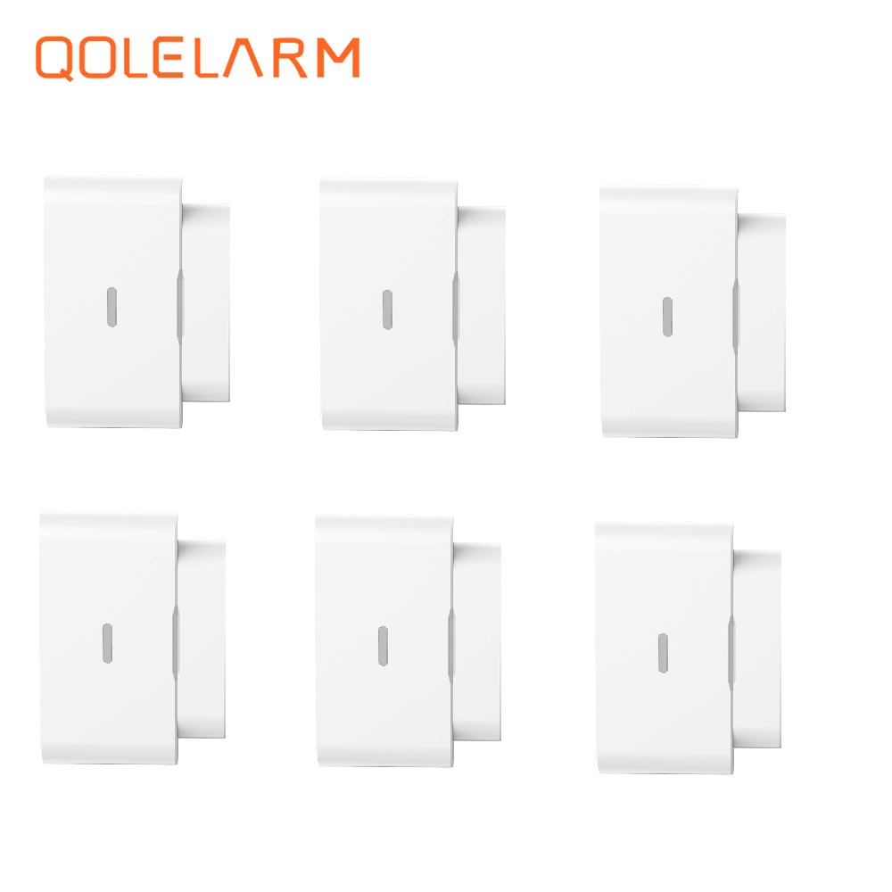 QOLELARM new 6 pieces automatic 433mhz Wireless magnetic door window sensor without antenna for home alarm system forecum 433mhz wireless magnetic door window sensor alarm detector for rolling door and roller shutter home burglar alarm system
