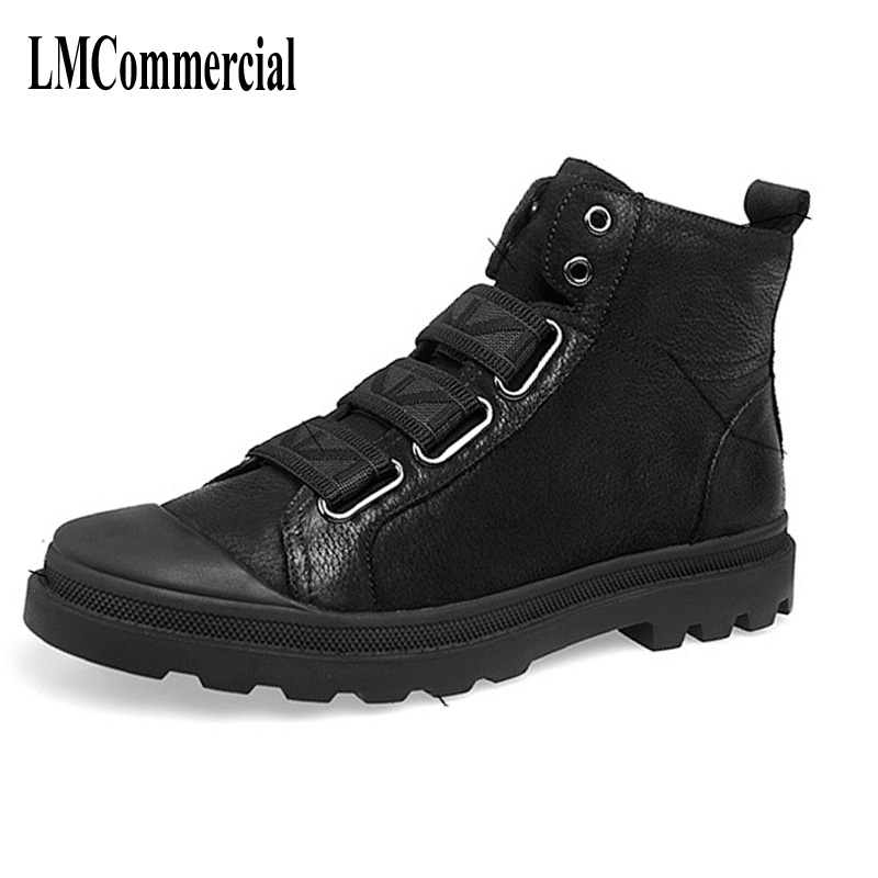 Black winter boots men Martin Vintage Motorcycle Men leather boots lace up new autumn winter British retro high shoes mulinsen latest lifestyle 2017 autumn winter men