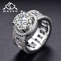MDEAN White Gold Color Wedding Rings For Women AAA Zircon Engagement Jewelry For Bague Bijoux Accessories