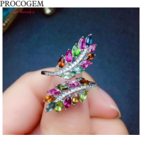 Leaf Natural Tourmaline Rings for Women Party Fancy more Genuine gemstones Fine jewelry 925 Sterling Silver Free shipping #582