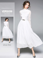 2018 Spring New Women's Lace Dresses Solid Color Crochet Hollow Out Elegant Slim Office Party White Long Dress