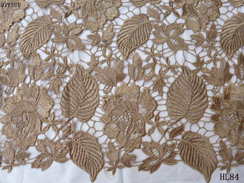 guipure lace fabric 2018 High quality african lace fabric new lace water embroidery flower fabric brown