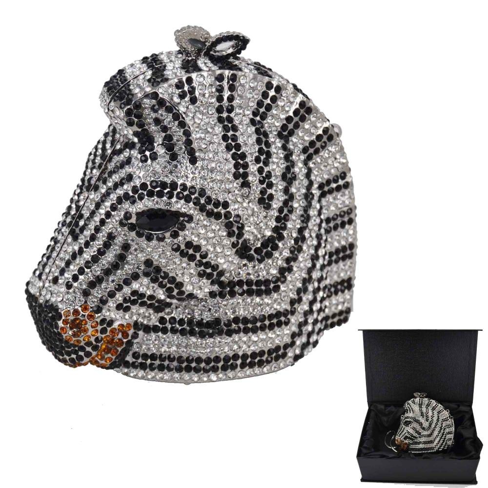 Animal Zebra Luxury Crystal dinner bag Women Diamond Clutch Party Handbags Horse Evening Bags SC899