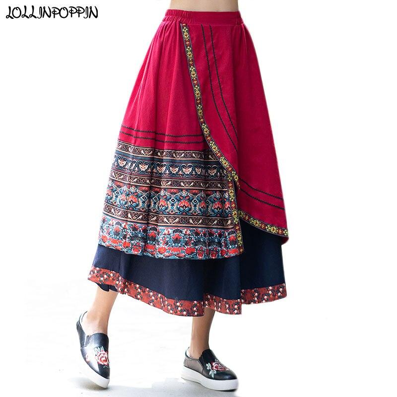 Cotton & Linen Women Long Style Bohemian Skirt Elastic Waist Irregular Design Patchwork Layered Floral Boho Skirts