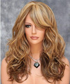Free shopping Africa Brazil lady wig big wave curly brown hair color highlights Fashion hairstyle