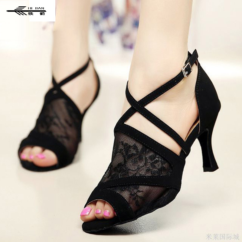 Lace Women Latin Dance Shoes Salsa Tango Dancing Shoes Ladies 7.5cm Heel Height Ballroom Shoes Girl's Latin Dance Shoes free shipping ankle strap hight heel women s salsa latin ballroom tango dance shoes