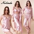 Эмуляции шелковой пижаме 6 шерстистого сексуальные большой шелковое платье платье с длинным рукавом пижамы ночная сорочка брачная ночь