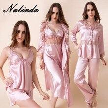 Emulation silk pajamas 6 woolly sexy big silk gown dress long sleeve pajamas night gown wedding