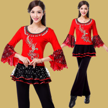 2017 Luxury square dance costumes dance show Chinese style suit middle aged women dancing skirt spring autumn clothes