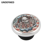 цена Chrome Polish Indian Skull Fuel Tank Cap Vented Gas Cap Cover For Harley Sportster XL1200 883 Road King Dyna FXD 1996-2018 moto