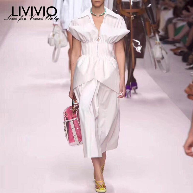 LIVIVIO Ruffles Pleated Waist White Long Elegant Cotton Dresses Short Sleeve Summer Clothes for Women