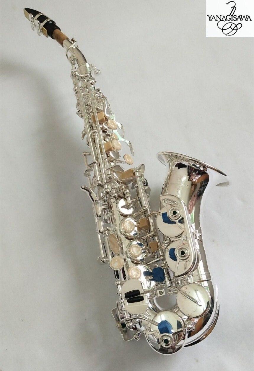 Marques YANAGISAWA S-901 Soprano courbé Saxophone argenté laiton haute qualité saxo professionnel embout