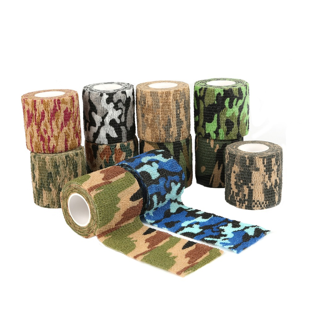 Adhesive Ribbon 4.5M/Roll Army Green 5cm width Duct Tape Flexibility Camouflage Waterproof Hunting Camping Stealth Tape Wraps Клейкая лента