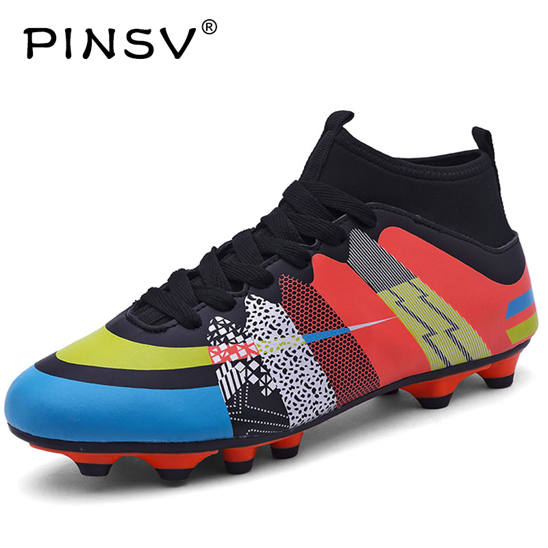 PINSV Superfly Football Boots Chuteira Futebol Soccer Shoes With Sock Men Kids Boys Soccer Cleats Superfly High Ankles Sneakers