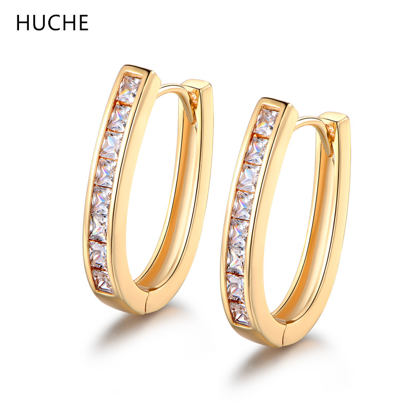 HUCHE Fashion Jewelry Big Hoop Earrings for Women Gold Color Ladies Earing Costume Jewelery Earrings with Stone Gift ZE100