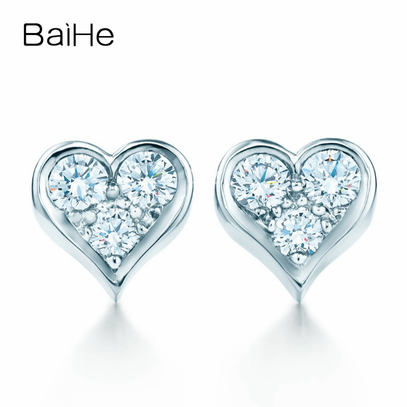 BAIHE Solid 18K White Gold 0.05CT H/SI Round cut Genuine Natural Diamonds Engagement Trendy Jewelry Elegant Unique Stud Earrings solid 18k rose gold unique stud earrings for women si h 100% natural diamonds earrings unique trendy party fine jewelry
