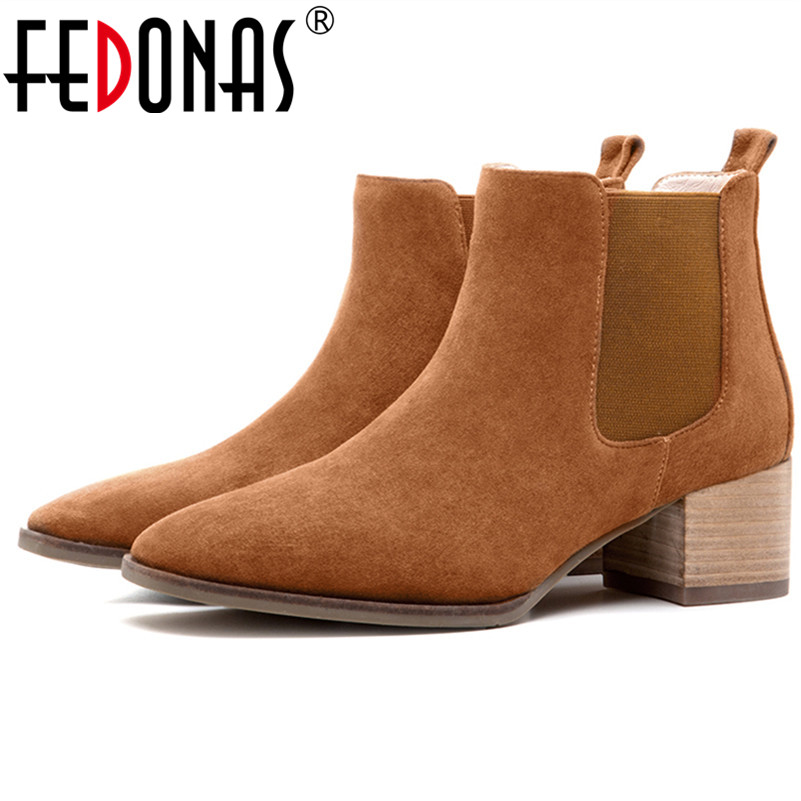 FEDONAS Retro Women High Heeled Ankle Boots Fashion Slip-on Autumn Winter Warm Boots Genuine Leather Shoes Motorcycle Boots