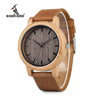 BOBO BIRD Round Bamboo With Leather Bands for Women Men Wood watches