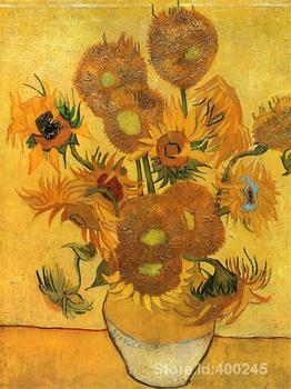 artwork by Vincent Van Gogh Still Life  Vase with Fifteen Sunflowers Oil painting canvas reproduction High quality Hand painted