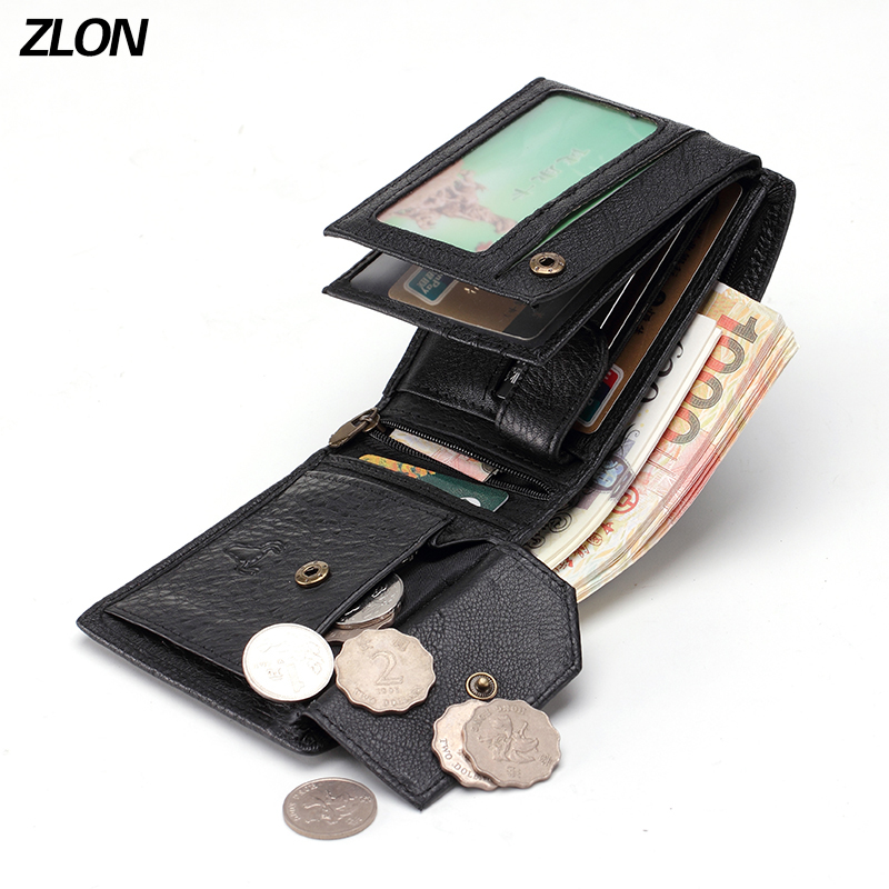 ZLON 100 Genuine Leather Trifold Men Wallet with Coin Pocket Zipper Bag Multifunction ID Card Holder Horizontal Purse Black Q347 coin pocket bag 2017 hot fashion men wallets wallet id card holder purse clutch with zipper men wallet with coin bag gift mj 02
