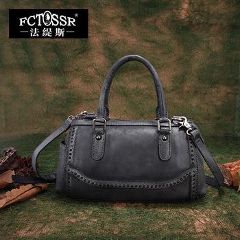 Women Top-Handle Bags 2019 Genuine Leather Female Messenger Bag Handmade Shoulder Sling Bag Retro Lady Studded Handbag