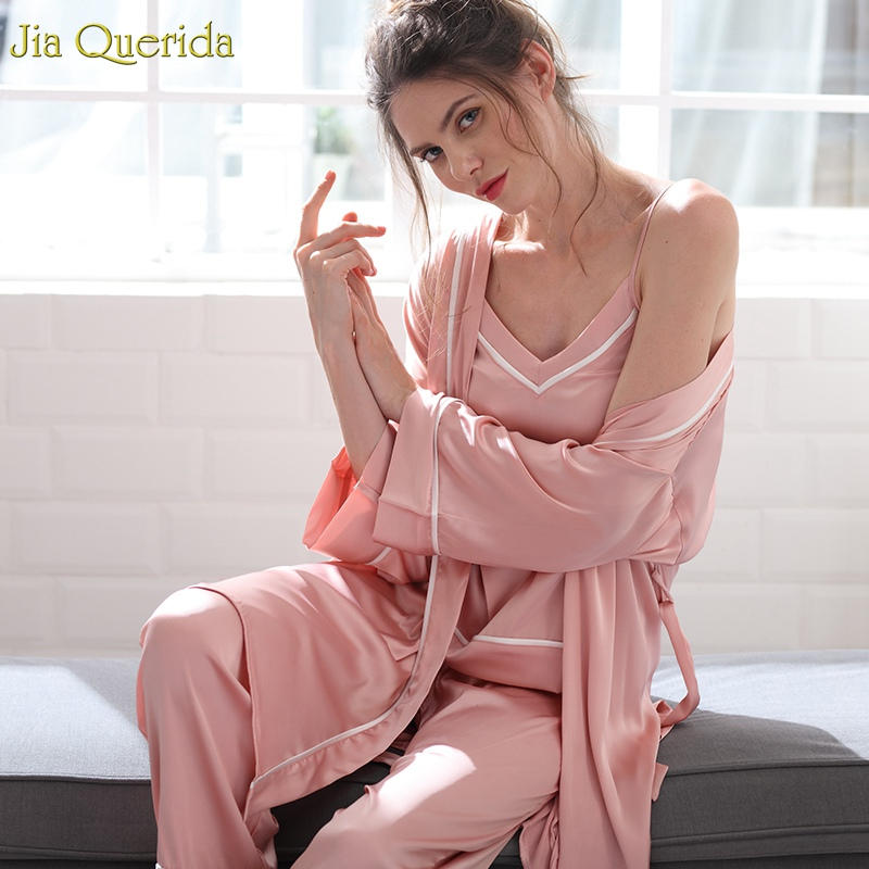 2019 Women Pink Gown Robe Set Elegant Bathrobe Set 3 Pcs Robe Sleepwear For Women Satin