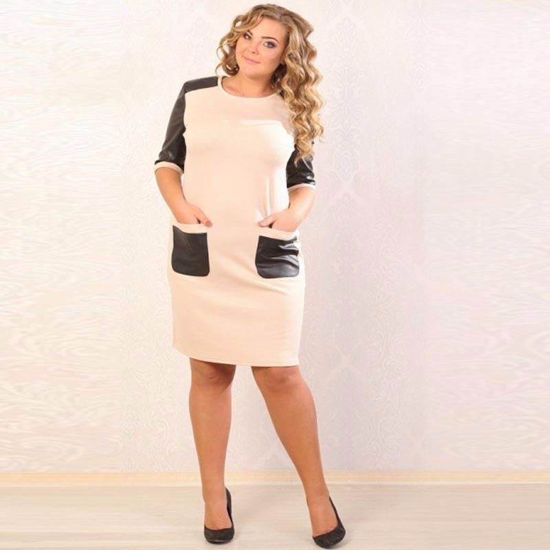 Big size 6XL woman dress 2018 Spring half sleeve sexy pocket