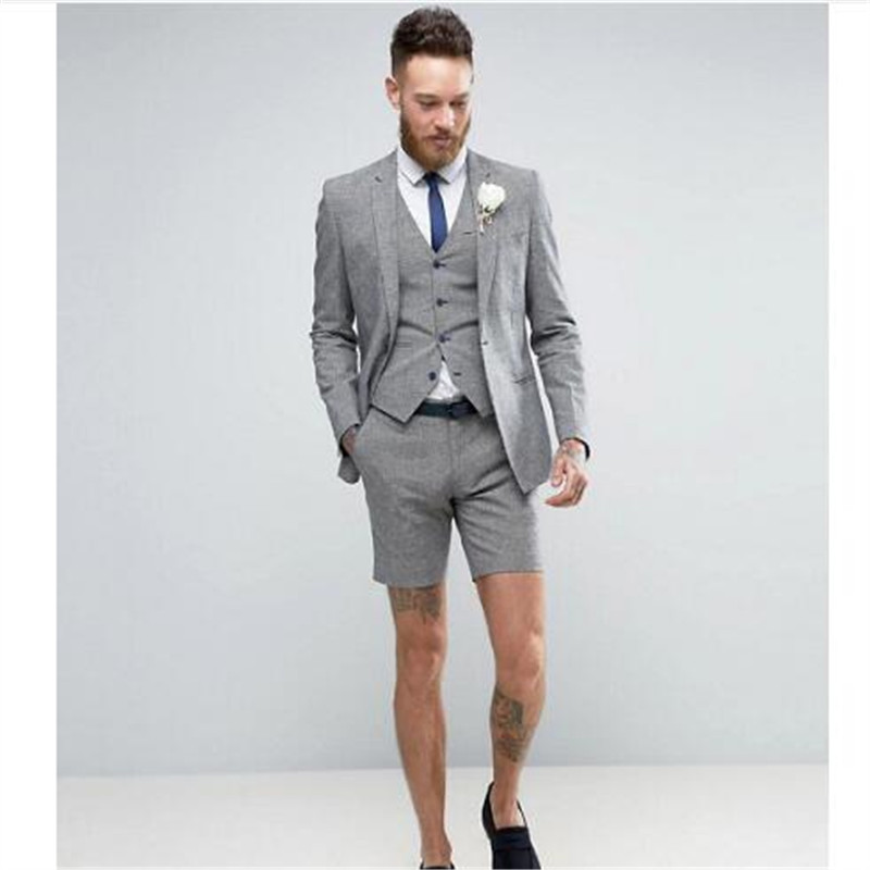 2019 Light Grey <font><b>Shorts</b></font> Summer Elegant <font><b>Men's</b></font> <font><b>Suit</b></font> (Jacket +Pants+Vest) Casual Groom Tuxedo Beach Wedding <font><b>Suits</b></font> Best Man Blazer image