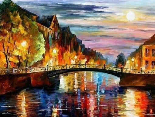 Top Quality hot selling beautiful counted cross stitch kit bridge oil painting night moon street lamp light 3