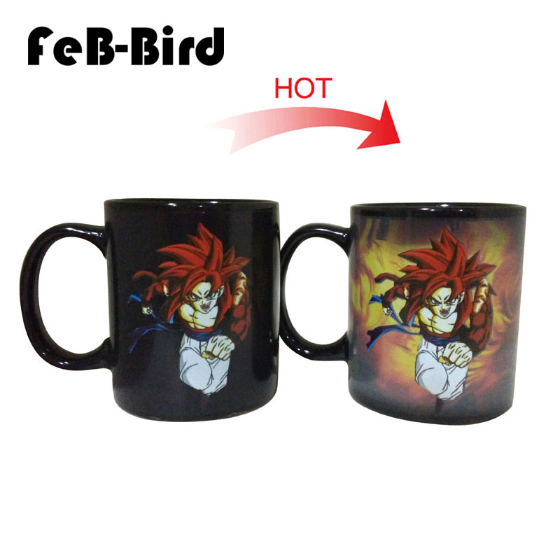 New Design Red Hair Goku Cups With Color Changing Birthday Gifts Heat Sensitive Dragon Ball Z Ceramic Coffee Mug