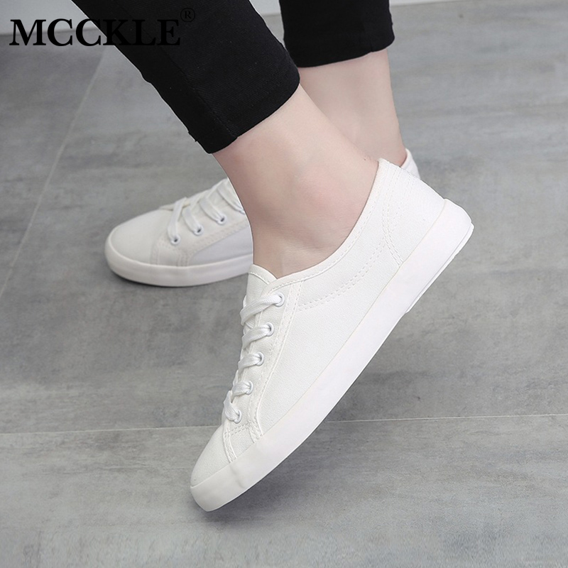 MCCKLE Autumn Women Vulcanized Shoes Lace Up Flat With Sneakers Fashion Sewing Female Canvas Casual Solid Walking Shoe e lov women casual walking shoes graffiti aries horoscope canvas shoe low top flat oxford shoes for couples lovers