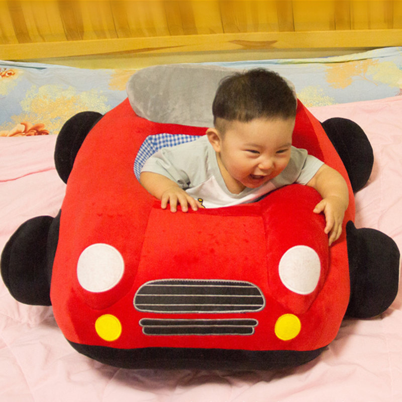 New Cute Car Baby Seat Sofa Cartoon Infant Learning Sit Chair Car Plush Toy Skin Baby Sofa With Zipper Without PP Cotton Filling