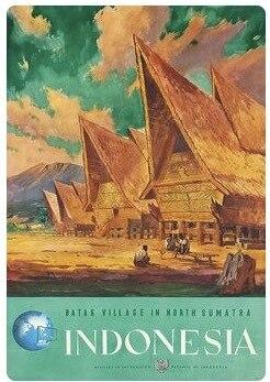BATAK VILLAGE SUMATRA Indonesia Travel Retro Vintage Poster Canvas ...