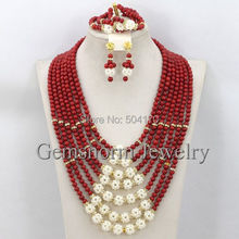 2015 Latest Fashion Red Coral Beads Wedding Jewelry Set Luxury Bridal Necklace Jewelry Set Handmade Free Shpping CNR251