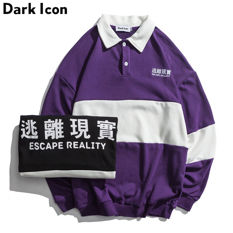 DARK ICON Turn-down Collar Color Block Funny Letter Printed High Street Sweatshirts Men 2019 Winter Slogan Men's Sweatshirts