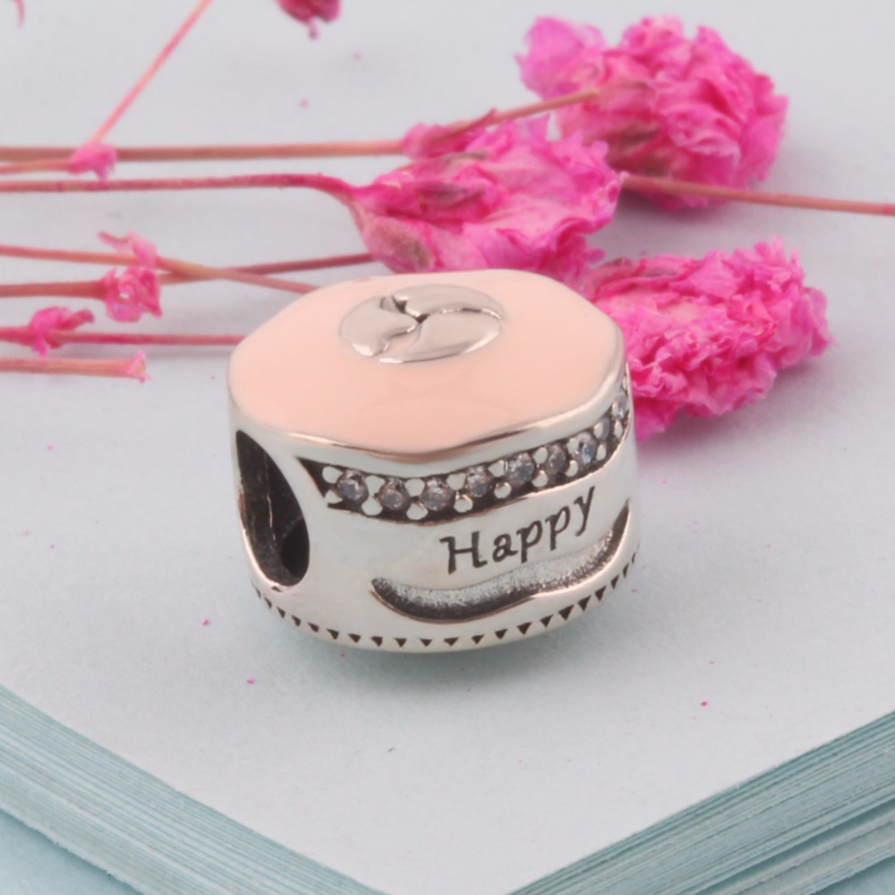 ZMZY Birthday Cake Authentic 925 Sterling Silver Charms Pink Enamel ...