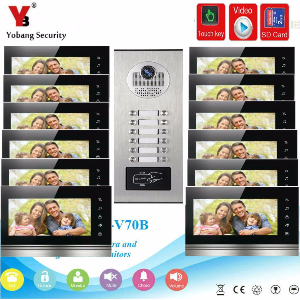 YobangSecurity 7Inch Video Door phone Doorbell Intercom Monitor Camera System RFID Access With Video Recording For 12 Apartment yobangsecurity 7 inch wire video door phone doorbell intercom system waterproof outdoor camera with raincover intercom system