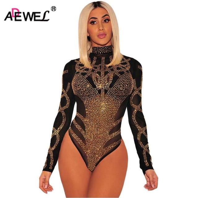d510e3017f31 ADEWEL 2019 Black Gold Rhinestone Mesh Bodysuit Women Long Sleeve Faux  Bustier Sexy Bodysuit Bodycon Body Romper Overalls