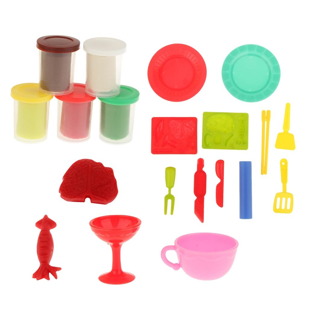 Play Dough Children Plasticine Modeling Craft Model Tools Set DIY Toys Learning Education Playdough For Kids Favor Birthday Gift