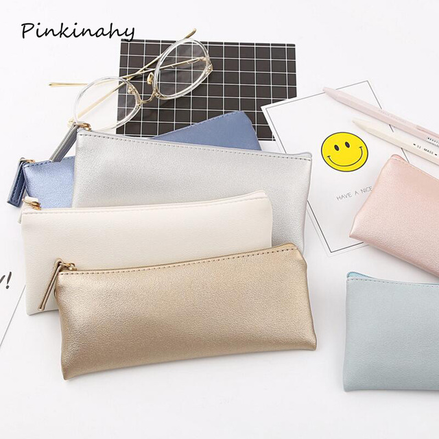 Fresh style Gold,Black,White,Silver,Pink,Blue,Orange,imitation leather Simple school pencil cases PU pencil bag Cosmetic Bag