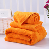 Factory Price 3-piece Bamboo Cotton Towels Set for Bedroom Bath & Hand Towel with 1 Washcloth Hotel Spa Orange Yellow 11 Colors
