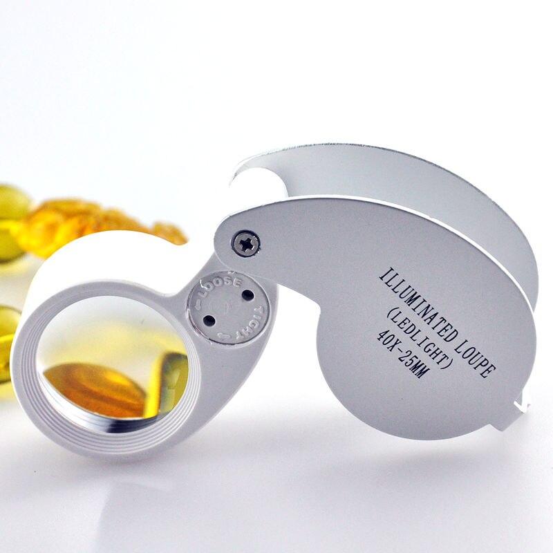 Mit einer Lampe LED 40x Mini tragbare Faltlupe Identifizierung Schmuck Smaragd ältere Lesung