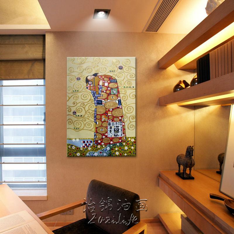 Gustav Klimt peinture à l'huile sur toile peint à la main les peintures de baiser pour salon Art mural photos pour salon décor à la maison - 3