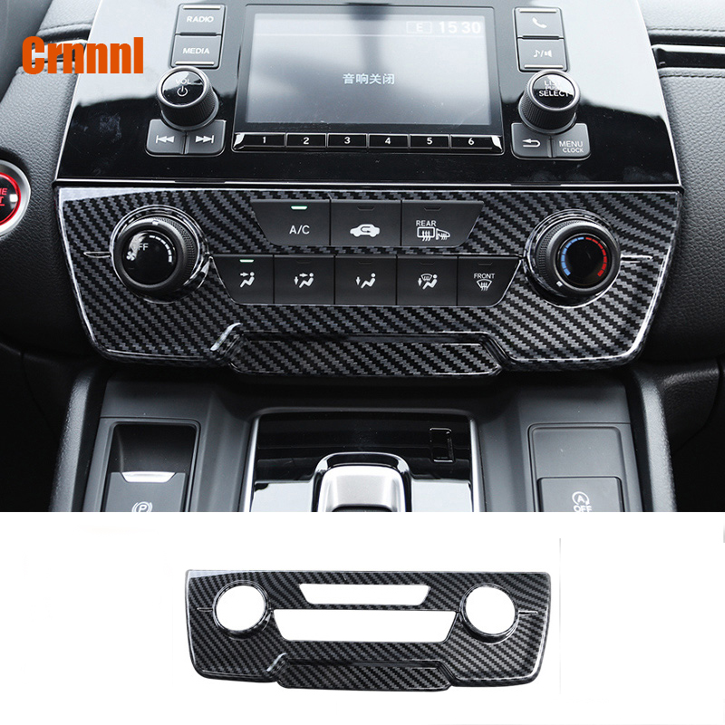 Carbon fiber style middle air conditioning CD panel decorative covers Car <font><b>Accessories</b></font> For Honda <font><b>CRV</b></font> CR-V 2017 <font><b>2018</b></font> 2019 image