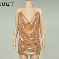 Latest Trends Women Sequined Robe Sexy Spaghetti Strap Party Dresses Summer Hollow Backless Bodycon Mini Club