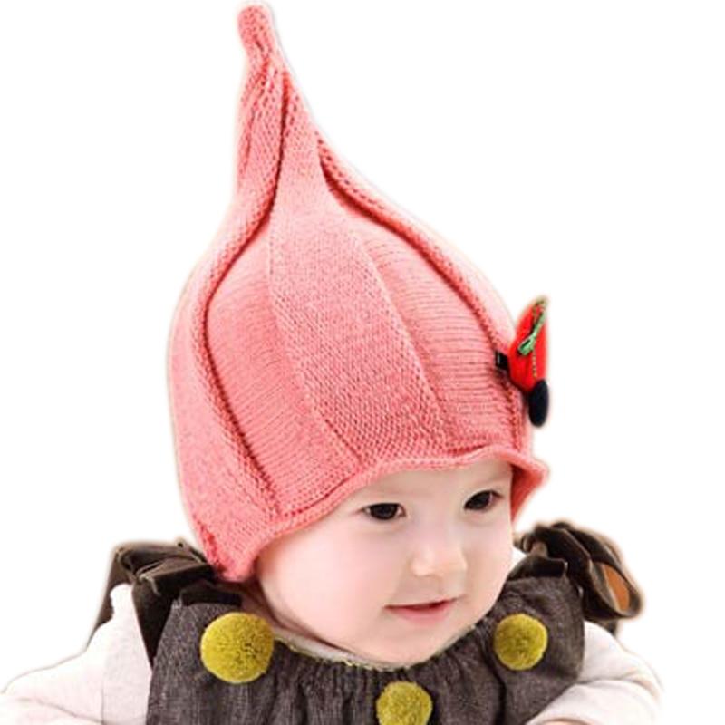 Hilenhug Baby Elf Hat for Boy Girl Kids 5 to 36 Months Baby Beanie Infant  Child Knit Warm Cap Wizard Woolen Hats Winter Fashion 499add895f8