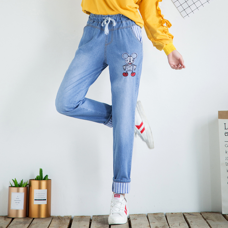 Cute Cartoon Mickey Mouse Women Jeans Elastic Band Denim Trousers Women Fashion Cotton Wide Cuffed Denim Girls Pencil Pants