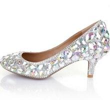 Glitter AB Crystal Party Prom Shoes 6cm Middle Heel Bridal Wedding Dress Shoes Rhinestone Diamond Women Formal Dress Pumps