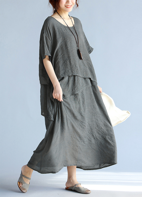 BelineRosa 2017 Plus Size Dresses Women's Holiday Style Asymmetrical Ruffled  Cotton Linen Big Sizes Dress Women TYW00321