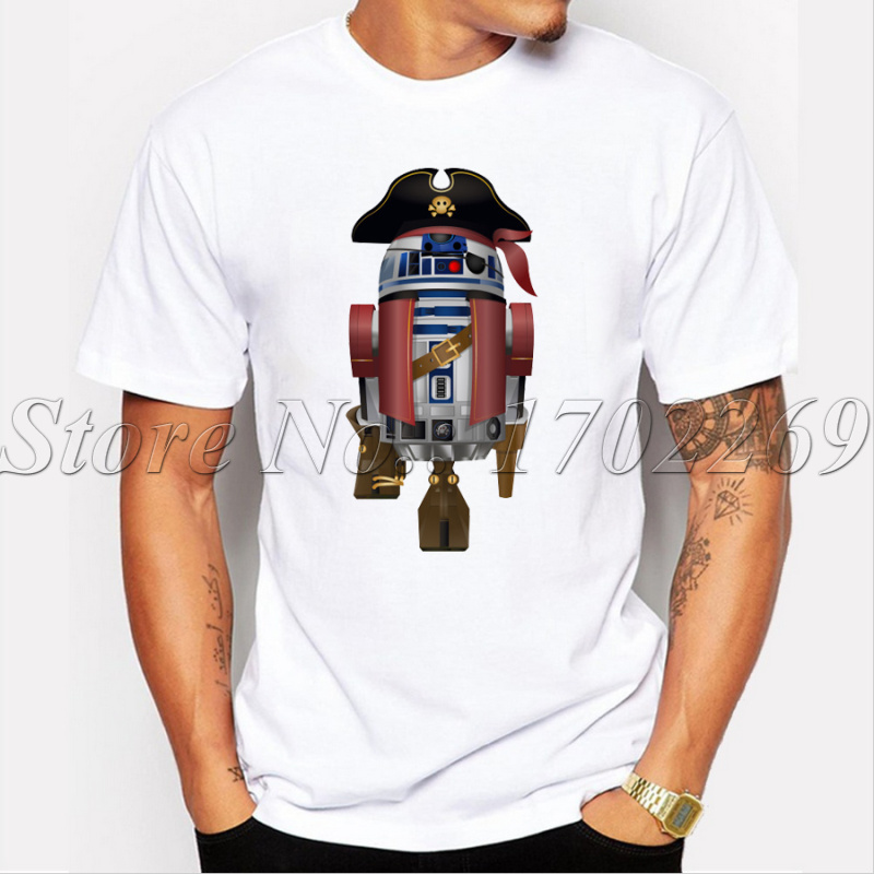 Pirates of the Caribbean fashion design men t-shirt short sleeve casual tops AAR2 Droid printed men funny tee shirts